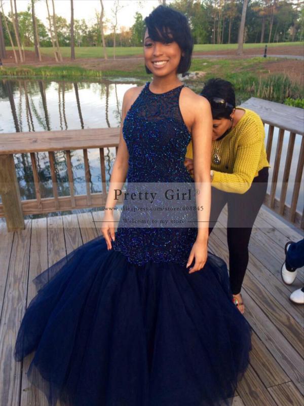 Aliexpress.com : Buy Elegant Navy Blue Beading Long Mermaid Prom ...