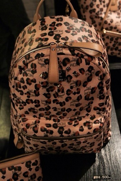 bag backpack animal print girly leopard print leopard print dope mcm book bags bookbag