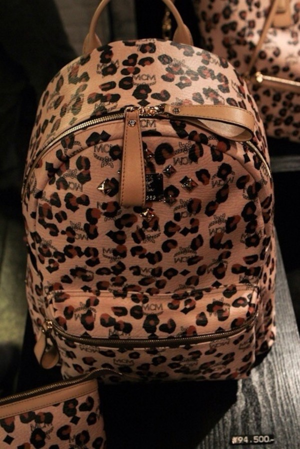 bag leopard print backpack leopard print dope mcm bookbag bookbag animal print girly