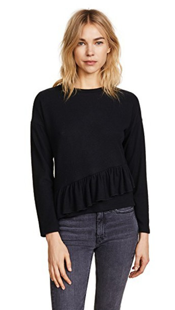 top asymmetrical ruffle black