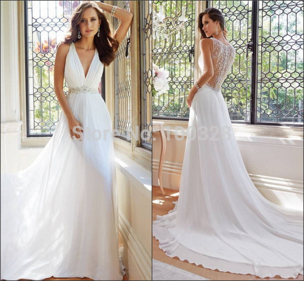 Aliexpress.com : buy hot sale high quality sexy v neck beading sleeveless floor length backless elegant chiffon a line wedding dress 2015 new arrive from reliable wedding dresses suppliers on rose wedding dress co., ltd
