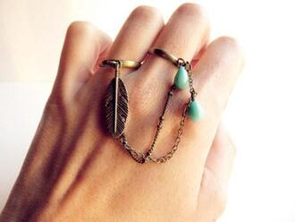 jewels turquoise leaf/design double ring