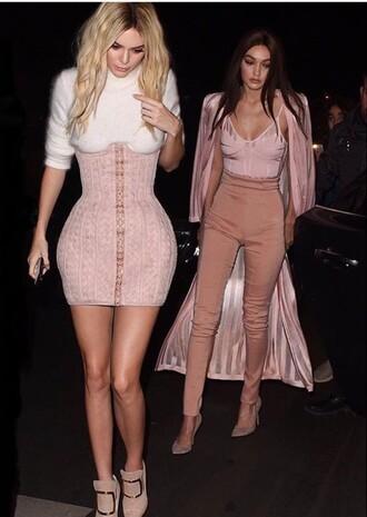 skirt kendall jenner high waisted dress high waisted pants pink top pink jacket pink skirt white sweater booties nude heels gigi hadid model fashion week 2016 top jacket