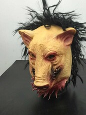 dress,2015 new saw 3 pig scary rubby pig mask with hair