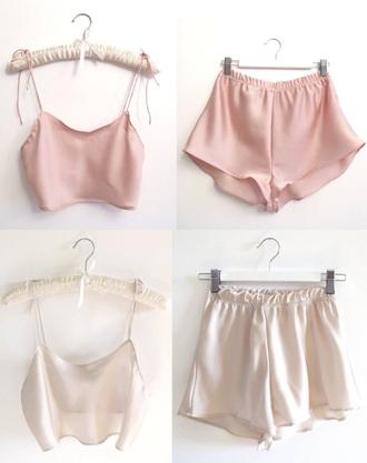 pajamas pink silk short sets