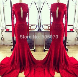 dress prom dress long dress long prom dress red dress red lace dress long sleeve dress train dress red