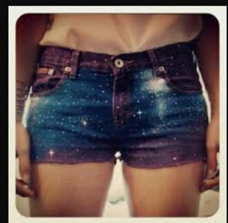 shorts purple blue black galaxy print