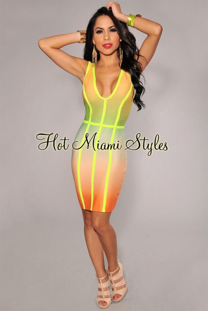 Neon ombre trim elastic dress