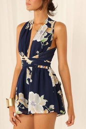 romper,navy floral playsuit romper,dress