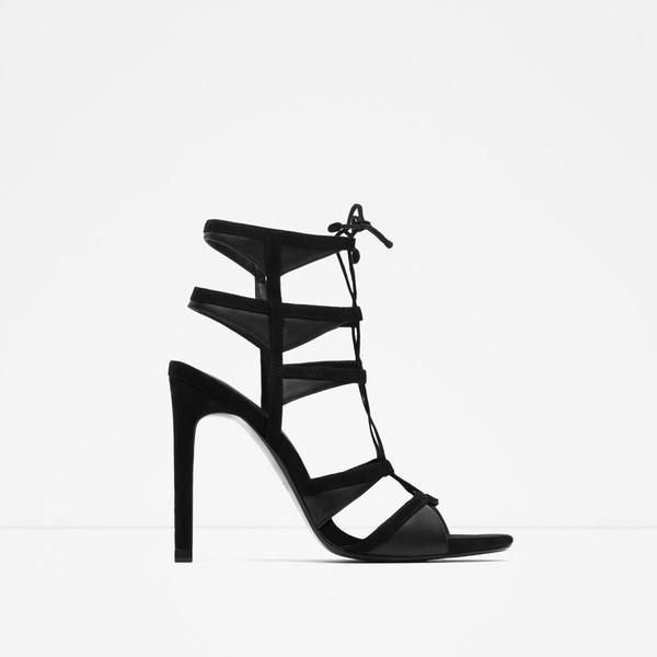 shoes slingback shoes sandals lace up sandals high heels high heel sandals black heels black sandals