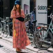 dress,maxi dress,checkered,v neck dress,printed bucket hat,flats,belt bag