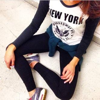 leggings sweater black white top nike running shoes black leggings brandy melville brandy melville usa new york city new york nike air nike sneakers nike