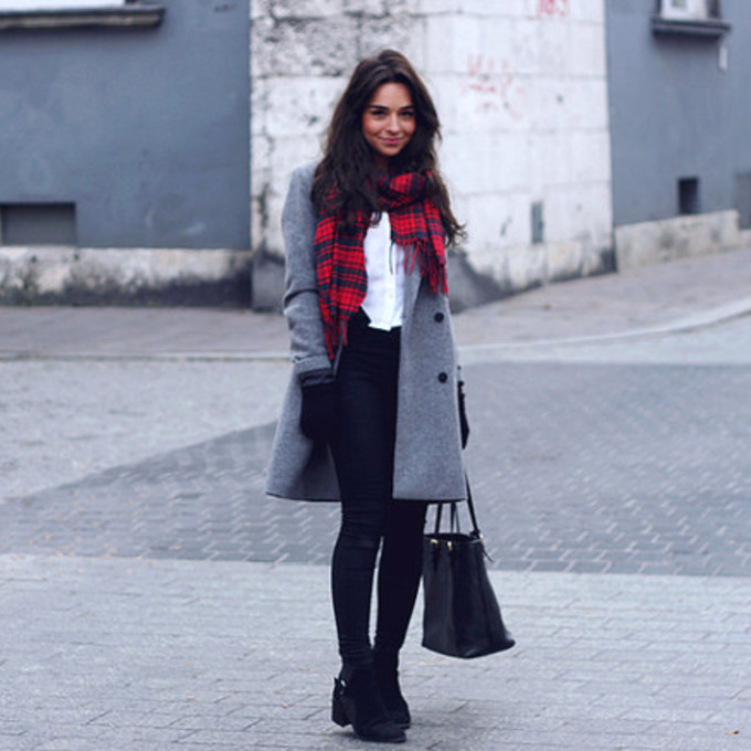 scarf bag shoes shirt coat pants winter outfits blogger tartan scarf raspberry and red winter coat scarf red