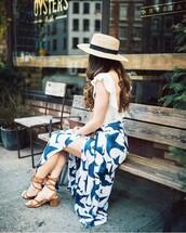 skirt,tumblr,hat,slit skirt,maxi skirt,long skirt,sandals,sandal heels,mid heel sandals,top,white top,open back,backless,sun hat