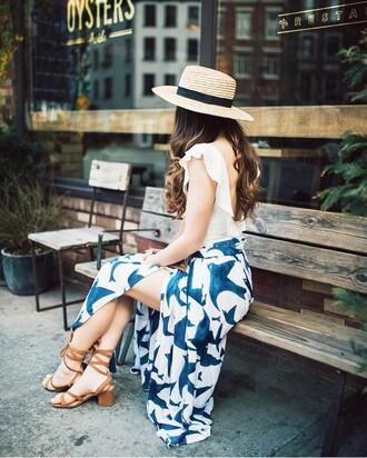 skirt tumblr hat slit skirt maxi skirt long skirt sandals sandal heels mid heel sandals top white top open back backless sun hat