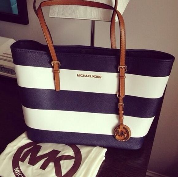 bag stripes blue and white bag michael kors bag