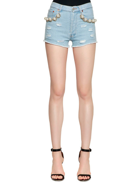 FORTE COUTURE Embellished Cotton Denim Shorts in blue