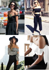 top,celebrity fashion lookbook,off the shoulder,crop,cross logo,cropped,crop tops