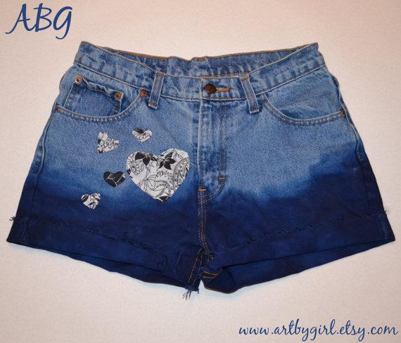 True blue high waisted denim shorts