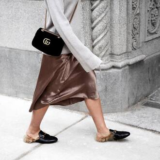 bag tumblr velvet velvet bag black bag chain bag gucci gucci bag sweater grey sweater bell sleeves bell sleeve sweater shoes black shoes furry shoes mules gucci princetown dress nude dress midi dress sweater over dress