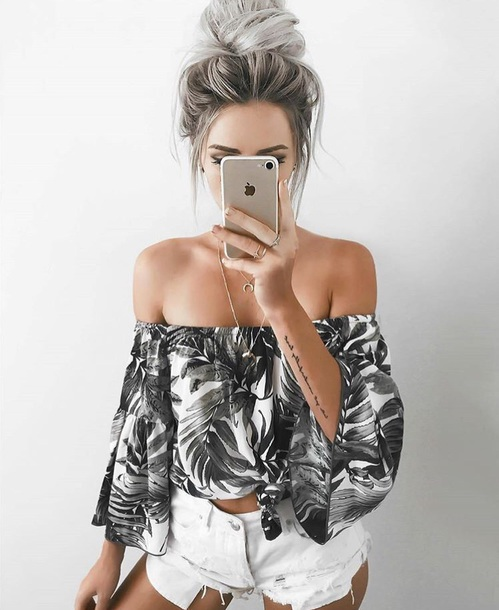 shirt tropical blouse off the shoulder boho white blouse flowy