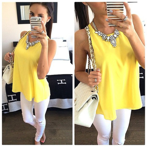 blouse yellow top jewels