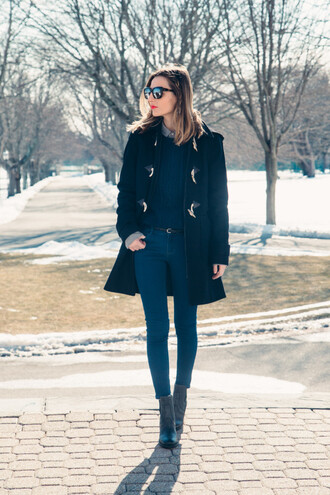 prosecco and plaid blogger duffle coat skinny jeans coat sweater jeans sunglasses jewels shoes belt make-up