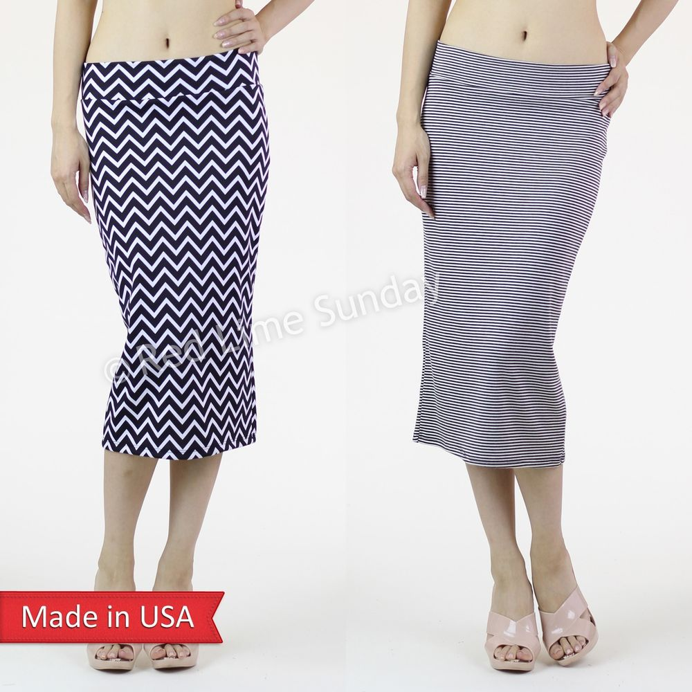 New Women Chevron Stripe Straight Sexy Knit Slim Fitted Pencil Skirt Made is USA