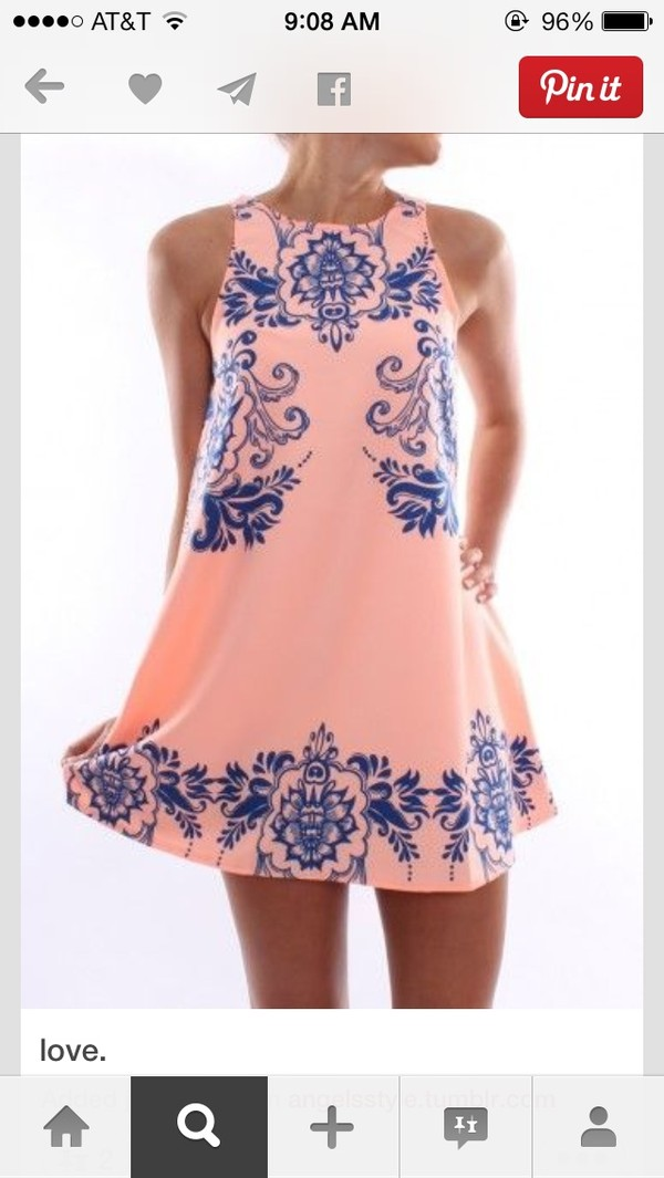 dress pink dress blue paisley pink blue beach summer dress peach dress short dress