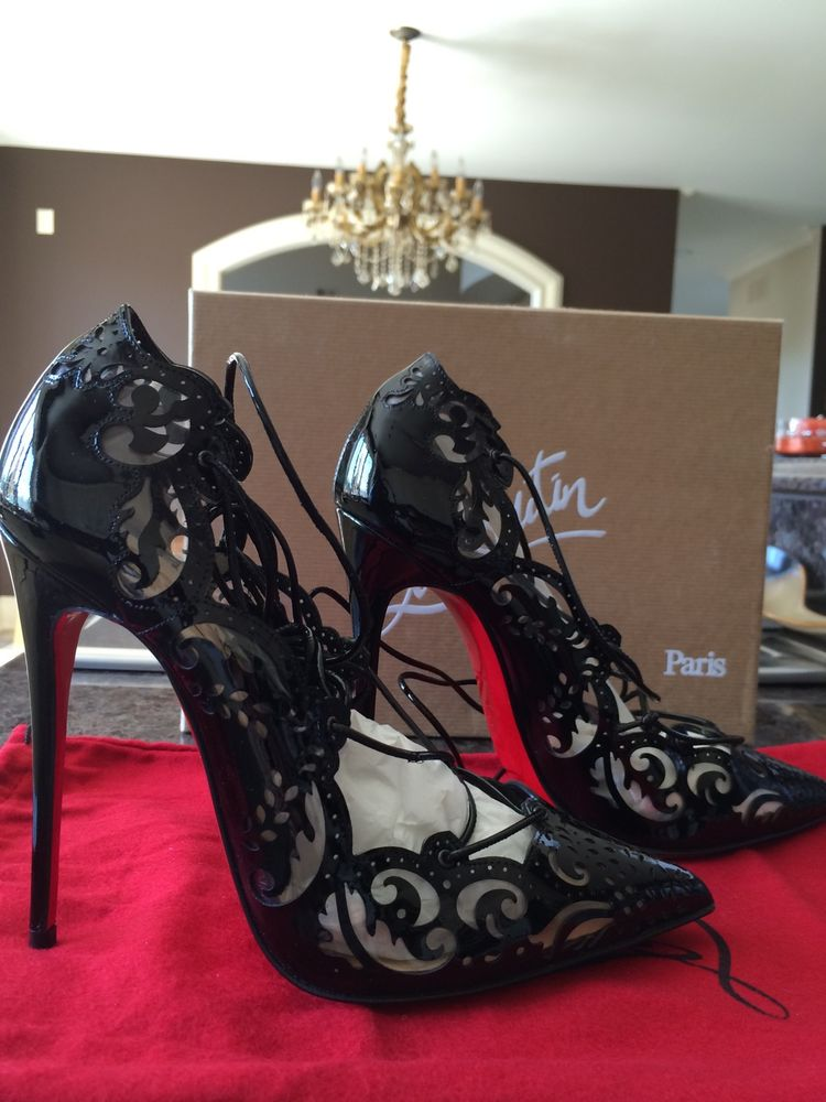 best service e1c41 4a330 Nib Christian Louboutin Impera Black Patent Pvc Laser Cut Lace Up Pump Sz 37