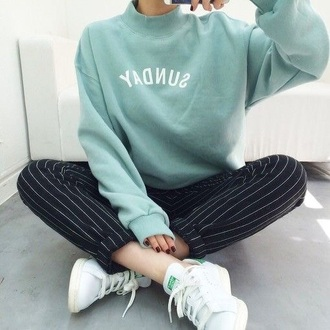 sweater mint green word sunday