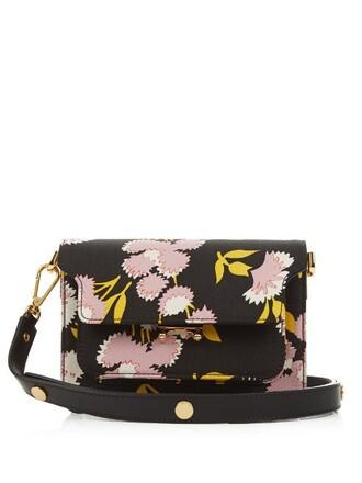cross mini bag floral print black