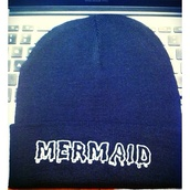hat,mermaid,black,beanie,dripping text,quote on it,black and white,dark,top,minimalist,aesthetic