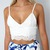 WHITE LACE CROCHETED SCALLOPED HEM PLUNGE NECK BRALETTE CROPPED TOP 6 8 10 12