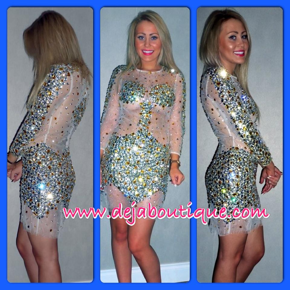 Deja Boutique. 'Star' gold silver crystal rhinestone dress