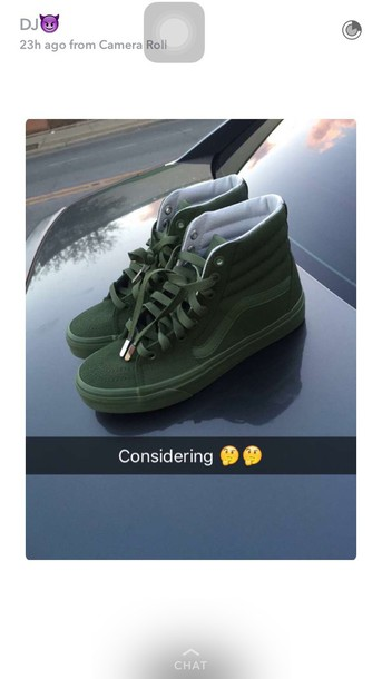 afb96725a967 shoes army green high top vans