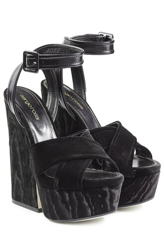 sandals platform sandals velvet black shoes