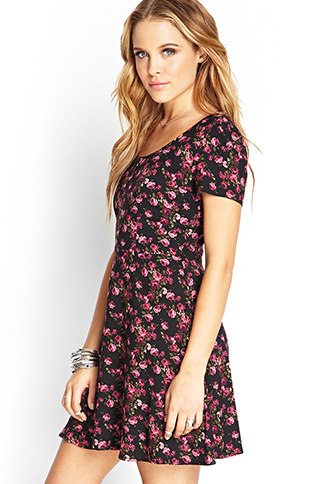 Rose Print Tea Dress | FOREVER21 - 2000060714
