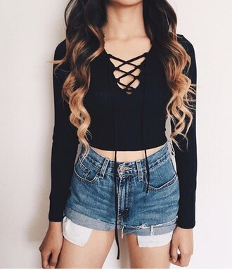 shirt black top black black shirt lace up long sleeves cute cute outfits cute top cute shorts fall outfits summer summer outfits summer top summer shorts denim shorts denim tumblr outfit tumblr girl tumblr clothes tumblr shirt tumblr shorts outfit outfit idea spring outfits spring spring break back to school swag cool trendy style girl girly girly wishlist cotton shorts lazy day crop tops