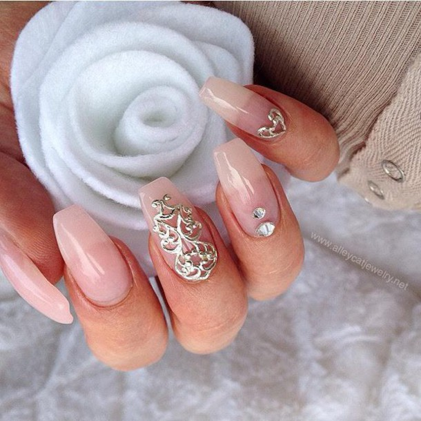 nail accessories, nails, rose, nail fashion, fashion, silver, nail ...