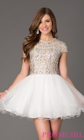 dress,closed back dress,closed back,perfect,sparkle,sparkly dress,sequins,prom,graduation dress,fancy dress,sleeves,dress with sleeves,white dress,lovely,my dream dress,prom dress,short prom dress,homecoming dress