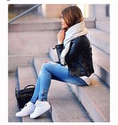 jeans,ripped,ripped jeans,zip,blue,denim,shoes,jacket,scarf,grey