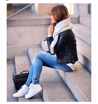 jeans ripped ripped jeans zip blue denim shoes jacket scarf grey nike nike air force 1 white shoes bag fashion girl leather jacket outfit sneakers style nike air force air max