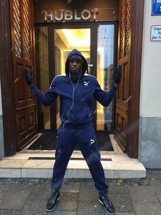 top puma menswear tracksuit navy hoodie joggers usain bolt