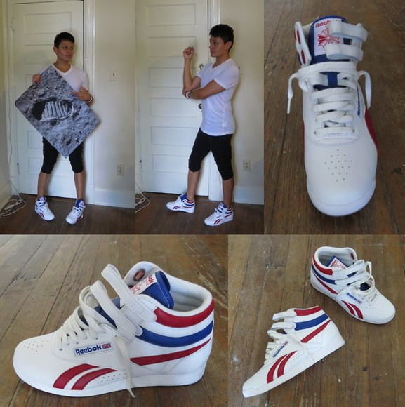 shoes sneakers high top sneaker high tops 80s freestyle reebok freestyle