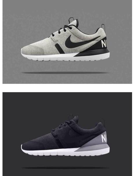 shoes nike nike roshe run run fleece pack black grey white