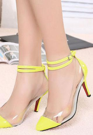 Ladies fashion high heel strap transparent shoes in yellow