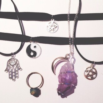 jewels sweater accessories ring star moon grunge hippie bohemian pentagram choker necklace choker necklace yin yang hippy boho jewellery crystal crystal quartz choker eye stone moon and stars 90s style charm charms purple ombre pentagram necklace