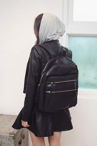 bag backpack black black backpack kawaii ulzzang school bag gold zip pleather cute zip back to school school uniform asian fashion kfashion marc jacobs