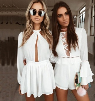romper girl girly girly wishlist white shorts romper cute style lace